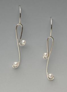 Delicate Pearls: Lonna Keller: Silver & Pearl Earrings - Artful Home