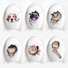 Toilet Sticker, Legendog 6 Pack 3D Toilet Sticker Washroom Toilet Wall Sticker Cat and Dog Toilet Seat Sticker Family DIY Creative Kitten Stickers Home Decor Wall Art For Kids Living Room Bedroom ** Read more reviews of the product by visiting the link on the image. (This is an affiliate link) #WallStickersMurals
