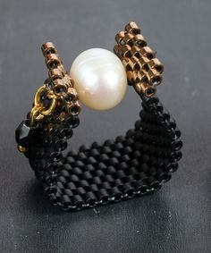 Pearl and black pearl ring Pearl peyote ring Handmade beaded ring Natural pearl ring Made in Greece Handmade gift ring for her Bead Jewellery, Seed Bead Jewelry, Beaded Jewelry, Beaded Rings, Beaded Bracelets, Peyote Ring, Rings For Her, Engraved Jewelry, Bijoux Diy