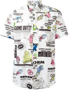 b35535f725 Kenzo Cartoon x Flyer short sleeved shirt Camisas Estampadas, Estampado,  Shorts Blancos Para Hombre