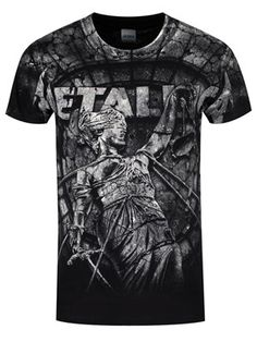 Metallica are bringing some 'stone justice' to your wardrobe! This fantastic tee pictures a female statue across the front, blindfolded and bound by ropes. Set in an eye-catching stone wash effect and picturing the band's 'M' logo on the reverse, this will look great paired with your favourite pair of skinnies. Official merchandise.