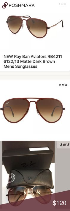 1522acf1a34b3 NEW Ray Ban Aviators Matte Dark Brown Sunglasses Genuine Ray Ban RB4211  612213 Matte Dark Brown