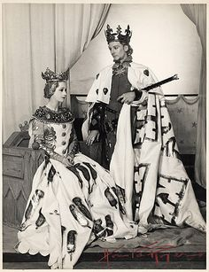 "1937 - This is a scene from ""Richard II"" at the Queen's Theatre with John Gielgud as Richard and Peggy Ashcroft as the Queen. It was unusual to see Shakespeare in the West End as producers were not convinced that the plays would attract audiences and were reluctant to take financial risks."