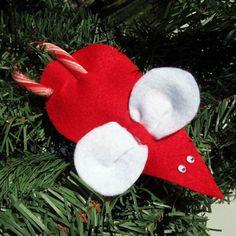 Candy Cane Mouse Felt Christmas Ornament - 2