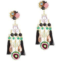 Mercedes Salazar Double Fringe Earrings: Black Multi ($198) ❤ liked on Polyvore featuring jewelry, earrings, clip-on earrings, black earrings, clip on chandelier earrings, long beaded earrings and black tassel earrings
