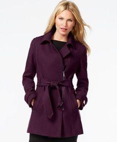 Kenneth Cole Asymmetrical-Zip Belted Trench Coat - Coats - Women - Macy's