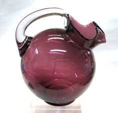 1930's Cambridge Glass Amethyst Ball Pitcher Classic Shape Beverage Pitcher with Ice Lip