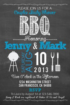 Printable BBQ Baby Shower Chalkboard Style 4x6 or by PuzzlePrints, $15.00