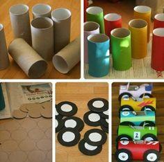 Easy Toddler Crafts using Toilet Paper Rolls - Kids Art & Craft Kids Crafts, Toddler Crafts, Diy And Crafts, Arts And Crafts, Paper Crafts, Craft Kids, Race Car Birthday, Cars Birthday Parties, Boy Birthday