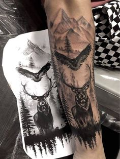 You are in the right place about Hunting Tattoos arrow Here we offer you the most beautiful pictures Tattoo Arm Mann, Stag Tattoo, Wolf Tattoo Sleeve, Nature Tattoo Sleeve, Tattoo On, Raven Tattoo, Tattoo Tree, Samoan Tattoo, Tattoo Black