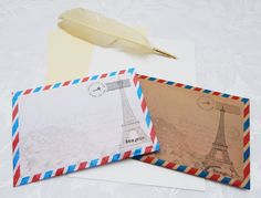 Handmade Paris Theme C5 Self Seal Airmail Envelopes (Pack of 25) by CranerCreations on Etsy