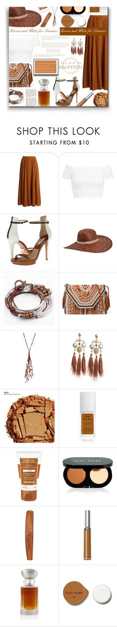 """""""Brown and White for Summer - Contest!"""" by sarahguo ❤ liked on Polyvore featuring Diane Von Furstenberg, Alice + Olivia, Michael Kors, Karen Kane, Lizzy James, Antik Batik, Chan Luu, Gas Bijoux, Urban Decay and Givenchy"""