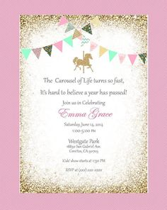 Carousel birthday invitation, red, mint, green, pink, gold, blue, gold bunting.  Printable, DIY. Birthday, bridal shower, baby shower.