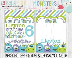 Monster Bash Personalised Invitation  Thank You, Boys Birthday, Monster Birthday, Monster Party, Printable Party, DIY Party