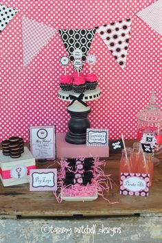 GIRL PARTIES: PIRATE PARTIES: The Pink and Black Ahoy Matey Pirate Girl Printable Party Collection - Pink Peppermint Design