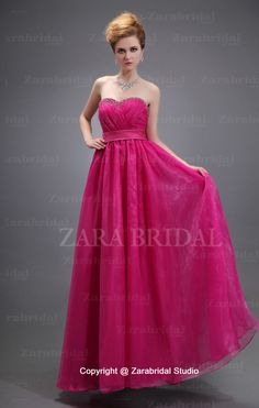 Simple Style Sweetheart Ruched Floor Length Fuchsia Prom Dress.