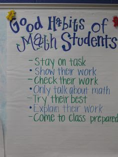Charts for math -- good habits of math students, what is math workshop & procedures for manipulatives