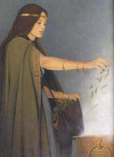 Ceridwen (the beatiful witch-queen and Goddess) from Fées et Déesses, by Erlé… Celtic Goddess, Celtic Mythology, Goddess Art, Wicca, Sacred Feminine, Witch Art, Celtic Art, Gods And Goddesses, Fantasy Characters
