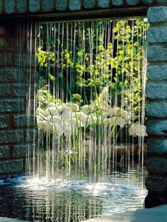 Garden Hydrangea Peeks Through Curtain of Water  A curtain of falling water from an over head water feature complements the cool white hydrangeas that are blooming just beyond the falls.    - See more at: http://www.hgtvgardens.com/photos/landscape-and-hardscape-photos/picture-perfect-pergolas?s=2#sthash.NEt6MTTy.dpuf