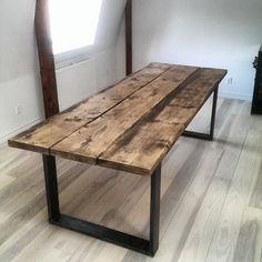 Dark Wood table with steel legs