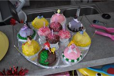 Disney Princess upside down cupcakes with polly pockets