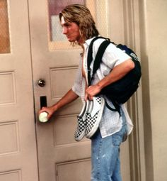 Fast Times at Ridgemont High, 1982     Story has it that Sean Penn as Jeff Spicoli brought his own pair of iconic black-and-white checkerboard slip-on Vans to the set and the surf and skate staples suddenly went mainstream for both women and men.