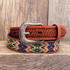 Men's Beaded Leather Basket Weave Belt