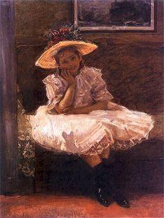 Władysław Podkowiński - Dziewczynka w kapeluszu z kwiatami, 1894
