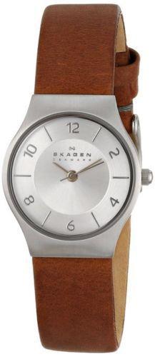Skagen-SKW2205-Grenen-Silver-Dial-3-Hands-Womens-Brown-Leather-Strap-Watch-New