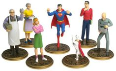 Smallville Superboy Superman Seven Piece PVC Figure Set by DC Direct. $23.64. Amazon.com                Inspired by the Marvel Comics Superboy series, and not by the WB television series Smallville, these plastic figures from the early days of the Man of Steel make for an impressive addition to any collection. Both Superboy and young Clark Kent are represented, as are Ma and Pa Kent, Lana Lang, a young Lex Luthor (yes, there was a young Lex Luthor), and Krypto the Dog. ...