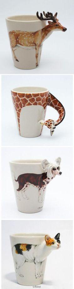 泰国设计师APISIT的动物手工陶瓷杯