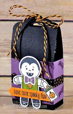 Great Halloween treat bag from a new series: Create With Christy: 12 Weeks of Fall & Halloween 2016 - Week - looking forward to seeing what's next! Dulceros Halloween, Halloween Paper Crafts, Halloween Favors, Halloween Goodies, Halloween Projects, Halloween Cards, Holidays Halloween, 3d Projects, Halloween Treat Holders