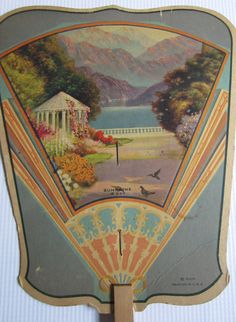 Vintage Paper Fan Advertising 1930s Maxfield Parrish Style Art Deco Scene of Gazebo, Birds, Mountains