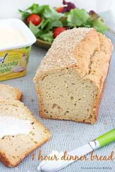 One Hour bread: 3 tbls I Can't Believe It's Not Butter!® Deliciously Simple™ spread, room temperature, 2 eggs, 2 tbls brown sugar, 1 cup yogurt, 1/4 cup milk, 1 3/4 cups white whole wheat flour,  2 tsp baking powder, 2 tbls sesame seeds     1 teaspoons salt     1-2 tablespoons sesame seeds (optional, for sprinkling on top of the bread)