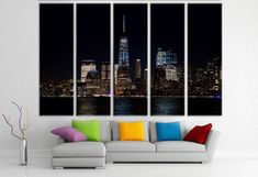 landscape painting - giclee print - cityscape - skyline canvas -cityscape wall art - canvas wall art - canvas print - large canvas print http://etsy.me/2CCoD1O #art #print #giclee #bachelorparty #easter #wallartcanvas #canvasprint #largecanvasprint #canvaswallart