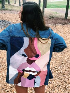 Hand-Painted Distressed Denim Jacket Upcycled by Circa69Denim