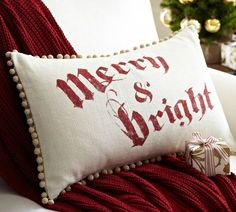 Merry & Bright Lumbar Pillow Cover | Pottery Barn