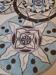 Blue Mandala drawn by Jonsu Ziegler
