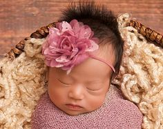 Pink Mauve Baby Headband Pink Flower Headband Ivory Newborn Headband Fower Girl Headband Newborn Photography Prop Lace Headband
