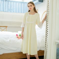 Find More Nightgowns & Sleepshirts Information about Cotton Lace For Nightgown Spring Summer Sweet Princess Square Collar Light Yellow White Long Home Dress Woman Free shipping,High Quality lace cuff,China cotton bikini Suppliers, Cheap cotton collar lace from Xiao O store on Aliexpress.com