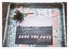 Postcard style save the date for this Napa Valley wedding.  Photo:  Feather Love