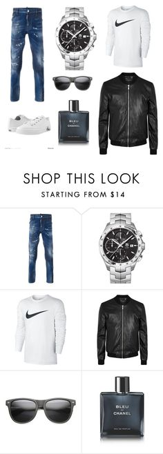 """""""Hãma"""" by mayloumayla ❤ liked on Polyvore featuring Dsquared2, TAG Heuer, NIKE, BLK DNM, ZeroUV, Chanel, Zipz, men's fashion and menswear"""