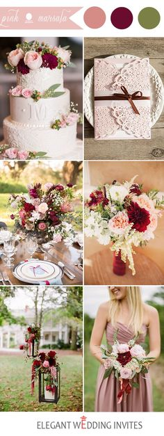 marsala and pink wedding color ideas
