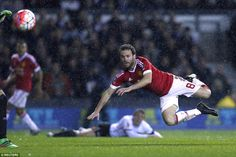 Minutes before adding gloss to the scoreline, Mata had sent a diving header wide of Derby'...