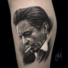 Johnny cash #tattoo #realistictattoo #portrait #johnnycash #music #country #folk #zoi #zoitattoo on @gym_berg