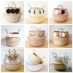 New basket bag diy straw Ideas Ikea Basket, Basket Bag, Wicker Baskets, Painted Baskets, Rope Basket, Diy Arts And Crafts, Diy Crafts, Diy Straw, Straw Bag