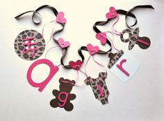Pink Leopard Baby Shower Decorations | Leopard baby shower decorations it's a girl banner by ParkersPrints on ...
