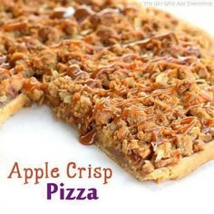 "Apple Crisp ""Pizza"" Pie ~~~ Another take on an All-America favorite - Apple Pie! Instead of a deep dish pie shell, simply use pie crust as the bottom and build a thin layer of ""Appleness"" topped with a crumb top!"