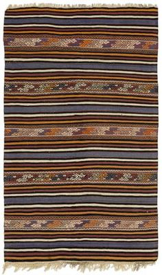 Striped Over Dyed Kilim Rug 4'7'' x 7'7'' ft 140 x 230 cm