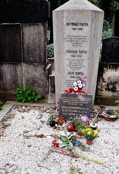 Kafka's grave is located in Prague in the new Jewish Cemetery. He is burried alongside his mother and father. There is also a rememberence for his sisters who died in concentration camps.  Right opposite Kafka's grave is a rememberance for Max Brod, his friend and saviour of Kafka's unpublished works. The writings in hebrew say: Tuesday, June 3, 1924 The glorious young man Anchel Kafka  passed on Son of the respected Mr. Hanich Kafka  And mother Yettel Kafka May his soul be bound up in the b...